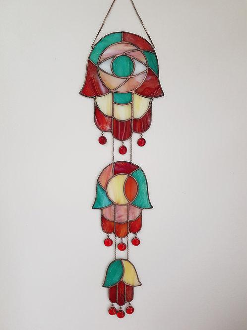 Big Glass Triple Hamsa. Stained Glass, Handmade