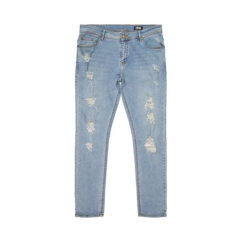 Slim-Fit Stretch Distressed Denim Jeans