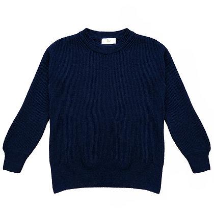 Maglia cashmere coste blu