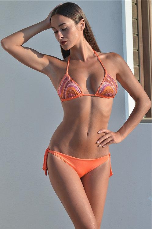Bikini triangolo swarovski orange o fucsia