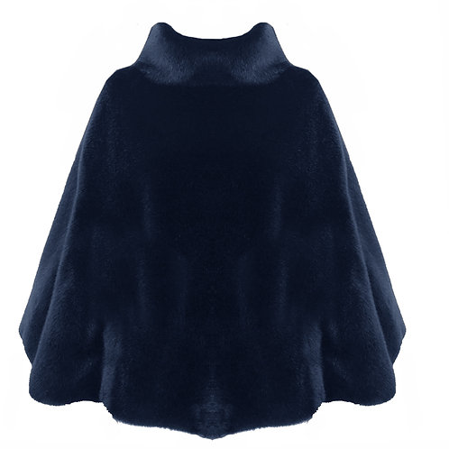 Mantella eco fur a collo alto blu