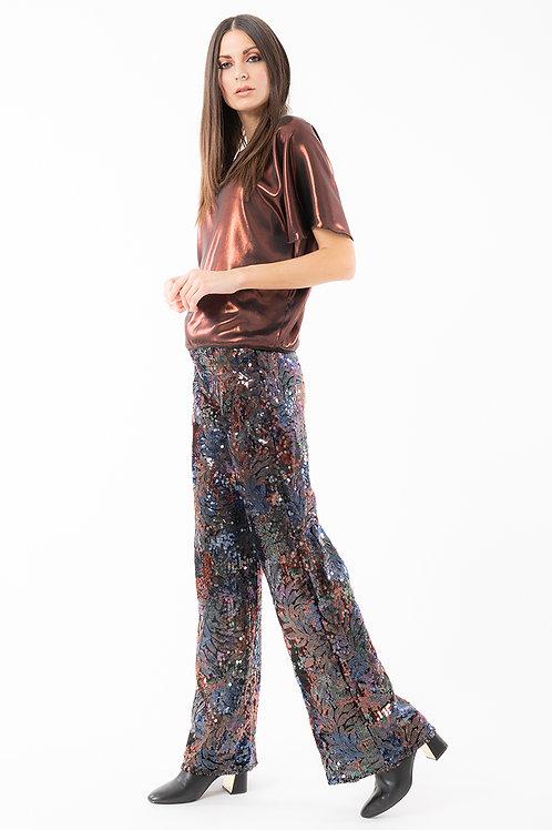 Pantalone paillettes fiore