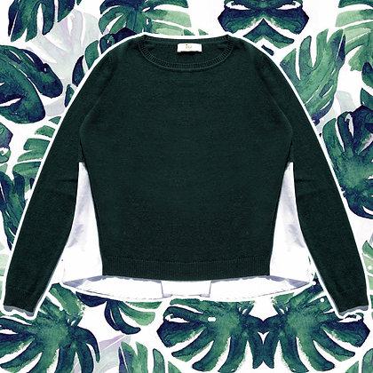 Maglia girocollo camicia verde cashmere