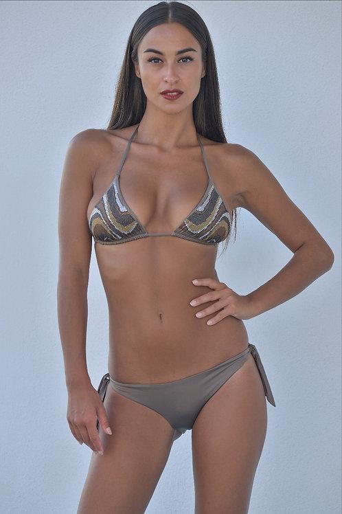 Bikini triangolo swarovski tortora