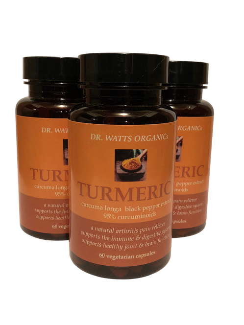 3 Bottles of Dr Watts Organics Organic Turmeric Capsules