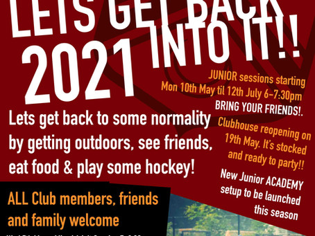 LETS GET BACK INTO IT, HOCKEY IS MAKING A COME BACK WED 5th MAY 2021