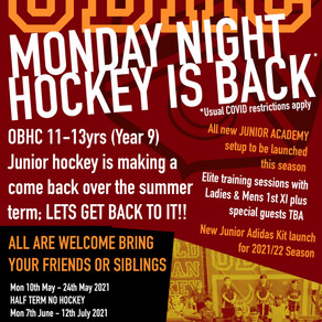 MONDAY NIGHT JUNIOR HOCKEY STARTS MON 10th MAY 2021 OVER THE SUMMER TERM