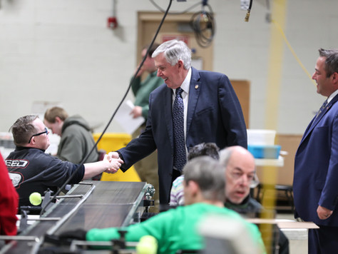 Governor Mike Parson Tours BCI, Speaks with Leadership