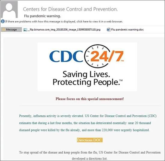 CDC Phishing screen shot
