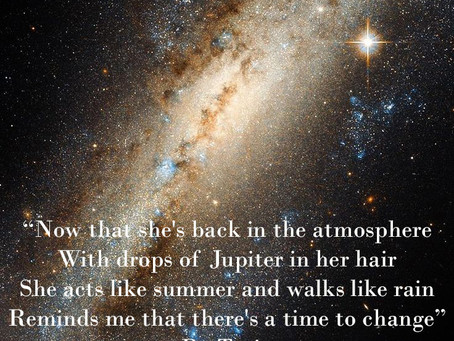 With drops of Jupiter in her hair