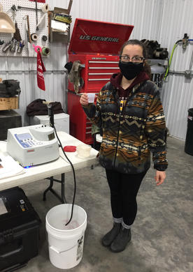 Josie with a nitrate sample