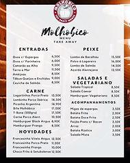 Ementa do Restaurante Molhobico em Évora