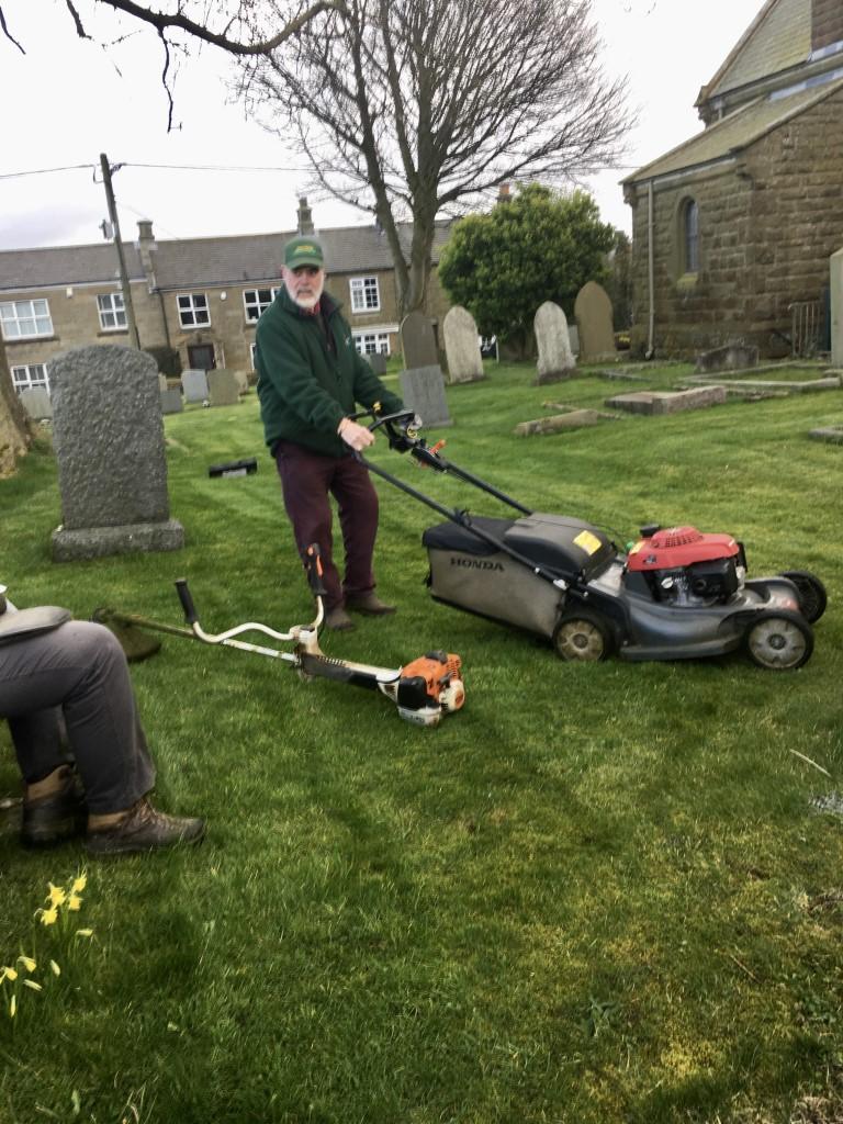 cutting the church yard grass - first cut