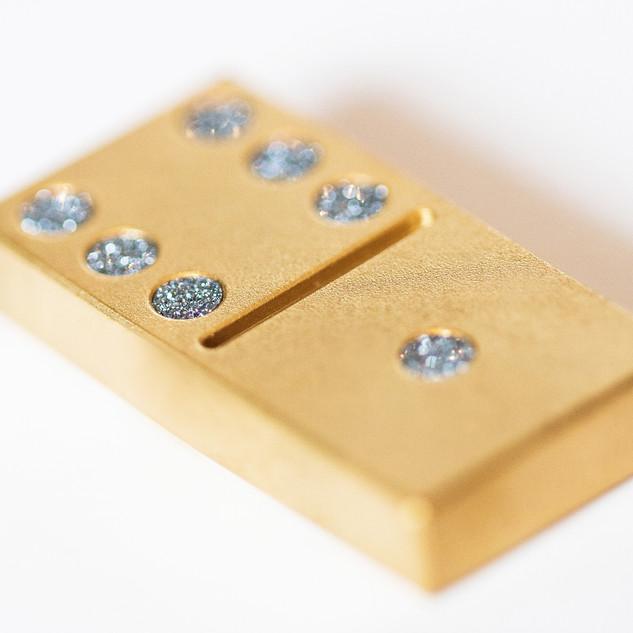 Domino Spielstein Set aus Gold