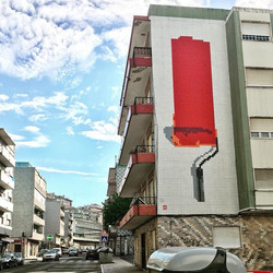 "Red Paint Roller ""6099 bricks"""