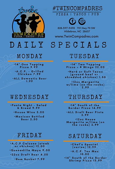 TC Twin Compadres Daily Specials 4-23-20