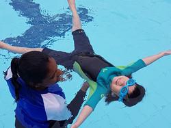 Coaching swimming for children