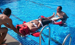 Lifeguard training at pool