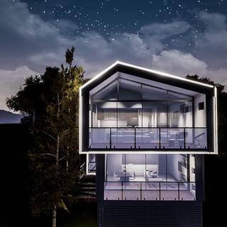 David Tomic Designed AirBnB Accomodation glowing facade