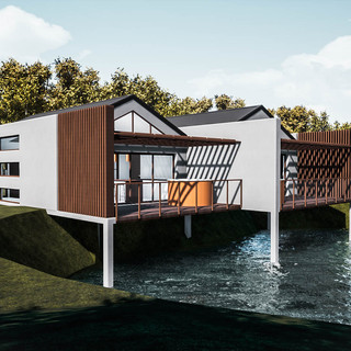 David Tomic Destination architect denmark over the water villa feature timber screen