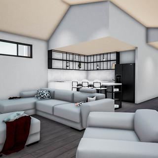 David Tomic Designed AirBnB Accomodation kitchen living dning