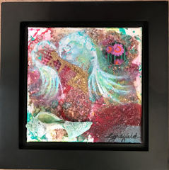 """Listening, $80, 8"""" x 8"""", 11.5"""" x 11.5"""" with frame"""