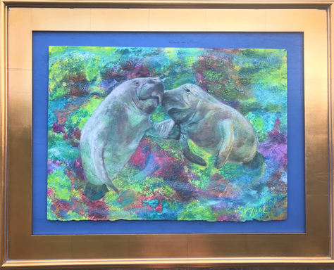 """Manatees in Solitude, 24"""" x 18"""",Sold"""