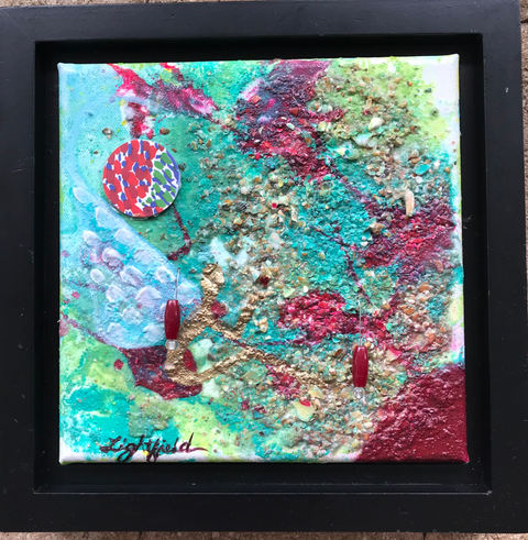"""Reflective Heart, $80, 8"""" x8""""(10"""" x 10"""" with frame)"""