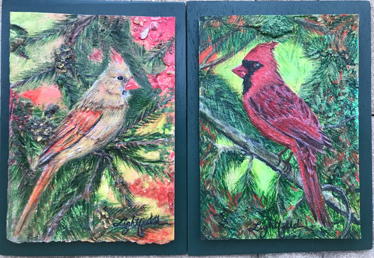 Female and Male Cardinals, Sold