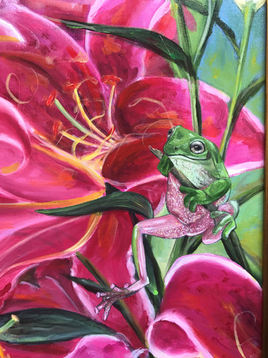 Close up of Frog and Lilies
