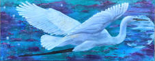 Indigo Inflight, Ocean Wash, Acrylic and Silver Leaf on Canvas