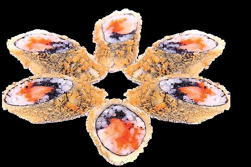 Теплый ролл с лососем