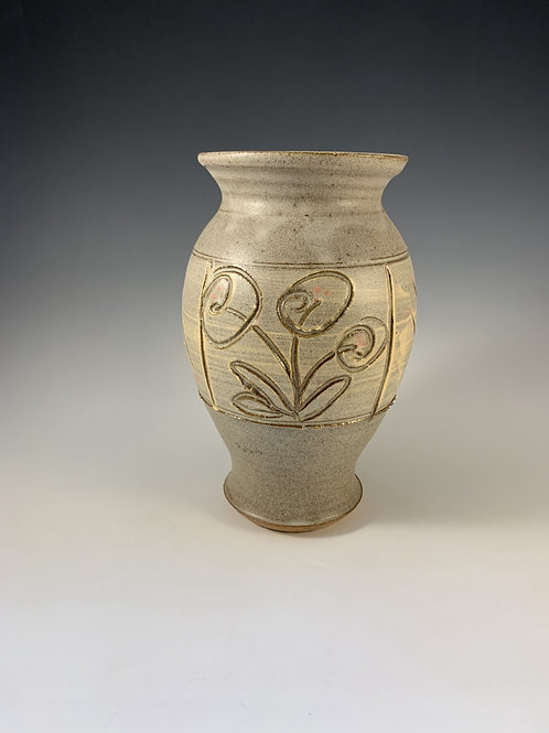 Tan Vase with Flowers