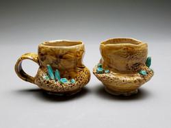 Tan/Blue Crystal Cups