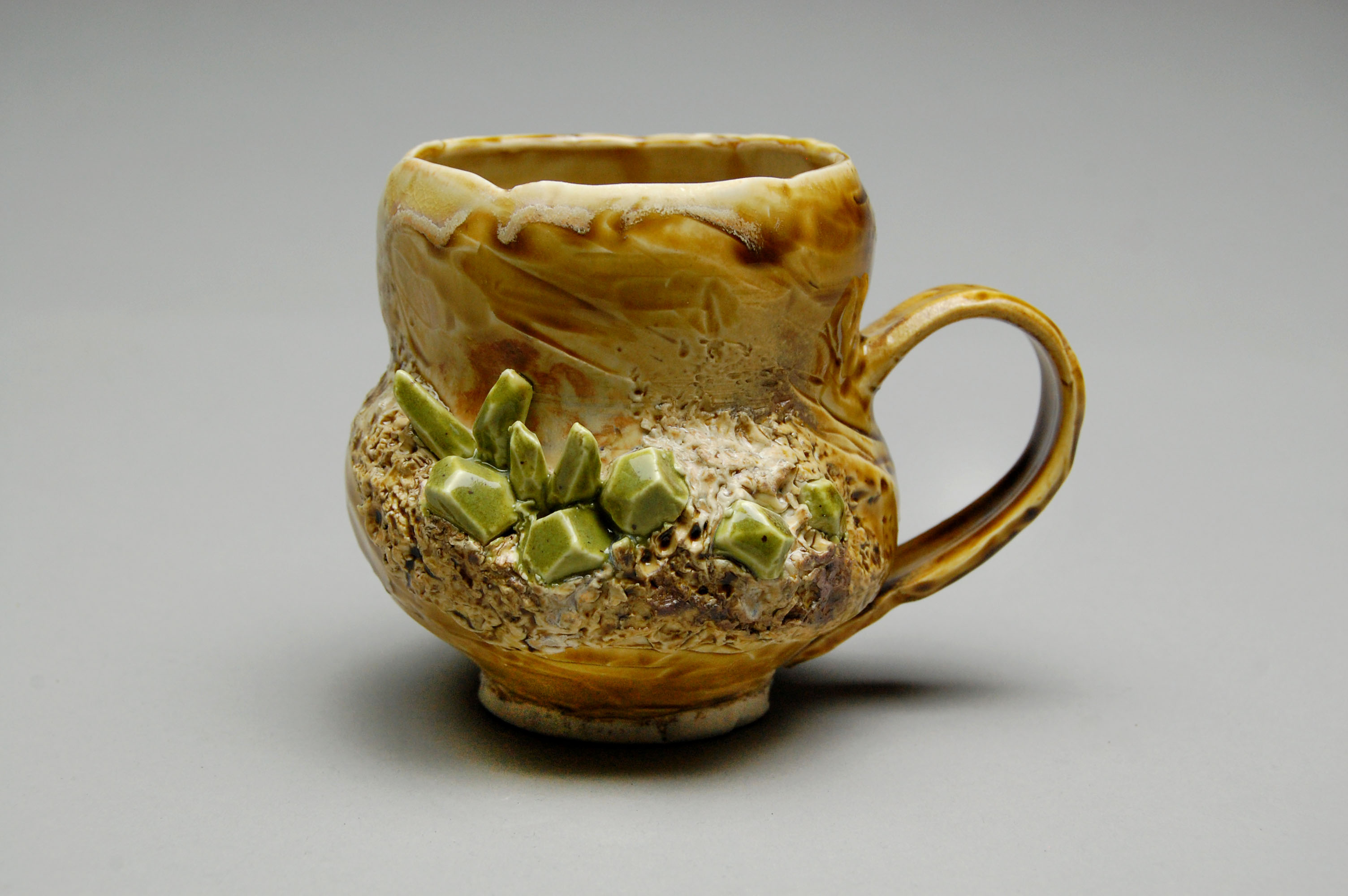 Tan/Green Crystal Mug