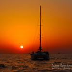 Catamaran Sunset in Santorini