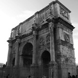 Arch of Constantine next to the Colosseum in Rome, Italy