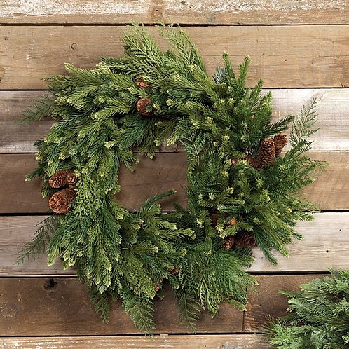 "24"" Fresh Mixed Green Wreath w/ Pine Cones"