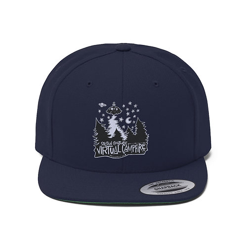Embroidered Virtual Campfire - Unisex Flat Bill Hat