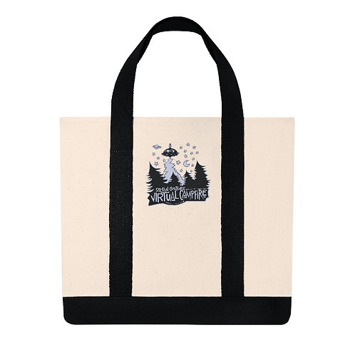 Embroidered Virtual Campfire Shopping Tote
