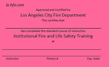 Los Angeles City Institutional Fire And life Safety training
