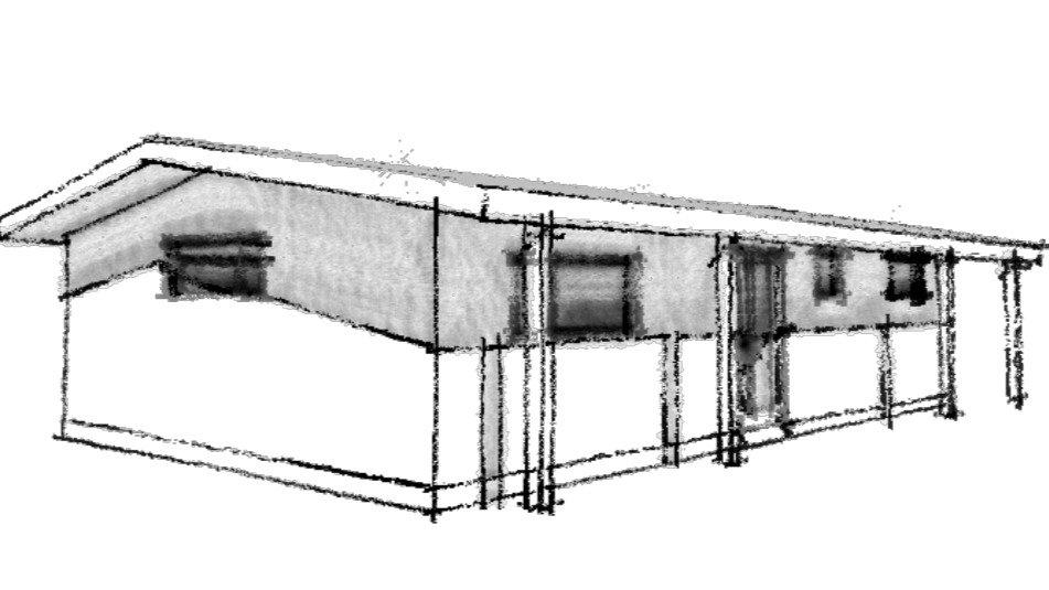 zázmam stavby ze systému SIPsCZ založené na základových patkách