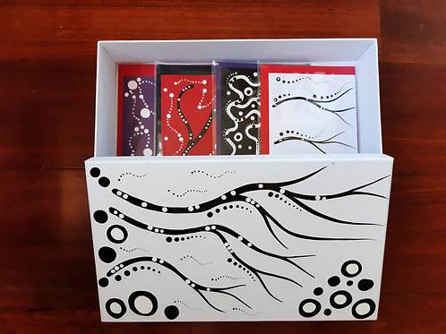 Hand Painted Card Box Set x 4 hand painted greeting cards