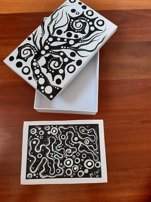 Hand Painted Card Box Set x1 small acrylic on card artwork