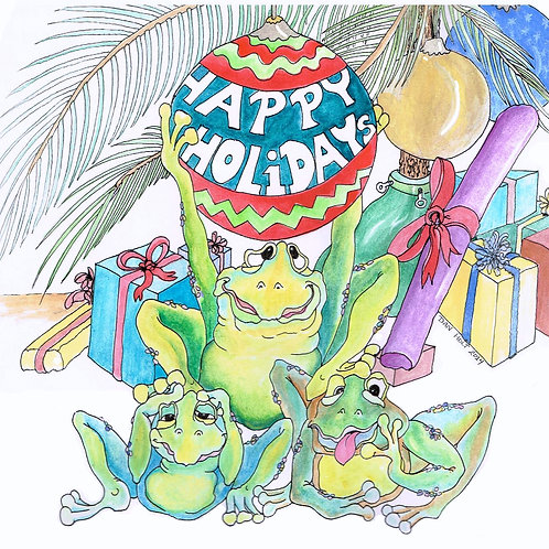 Happy Holidays Frogs cards