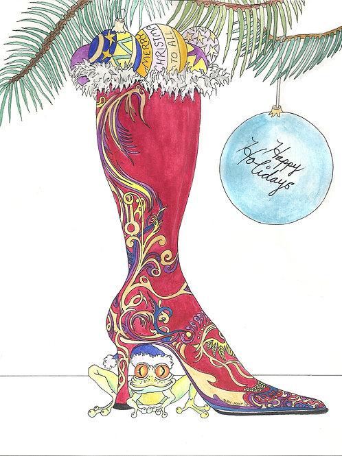 Christmas Frog and Boot
