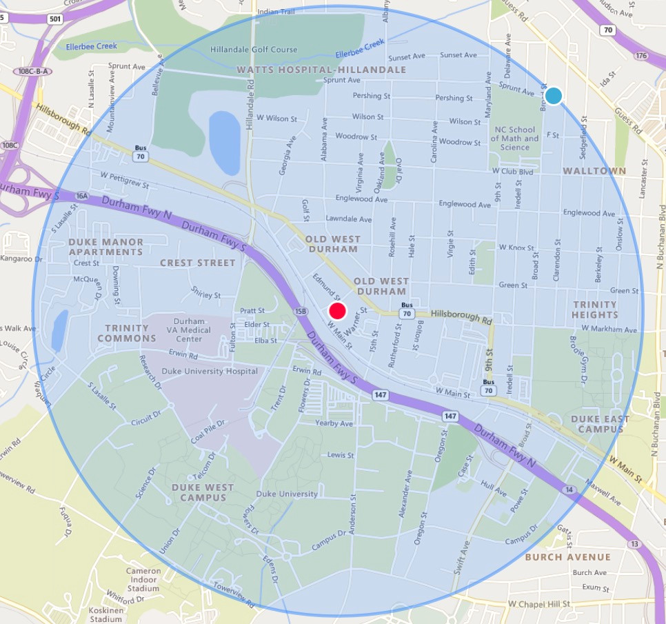 Map with BCC in the middle and a 1-mile radius drawn around it