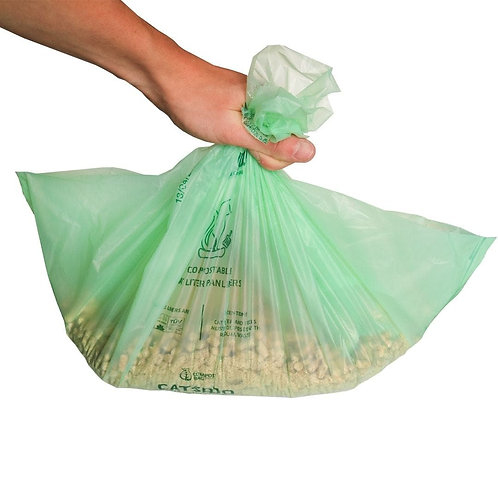Biodegradable home compostable cat litter tray liners - 10 pack
