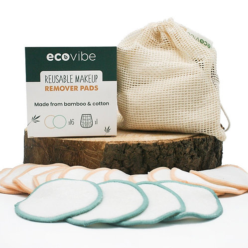 Reusable makeup remover pads - Set of 16 - Mesh laundry bag included