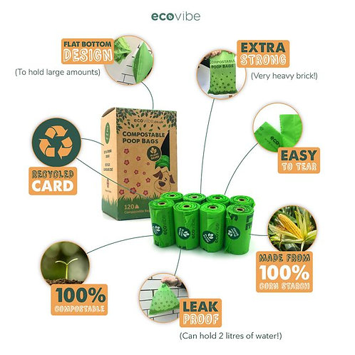 100% Compostable Dog Waste Bags